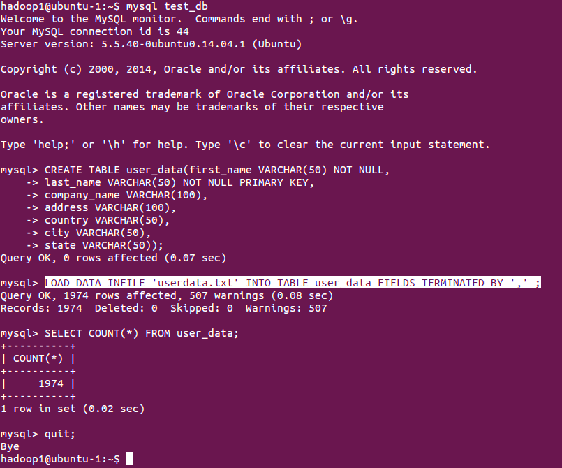 Bulk data load into MySQL table